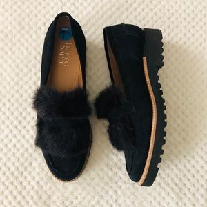 Franco Sarto Black Loafers with Faux Fur *NWOT*